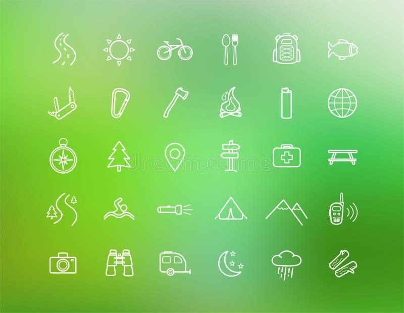 Toerisme, het kamperen lineaire geplaatste pictogrammen royalty-vrije illustratie