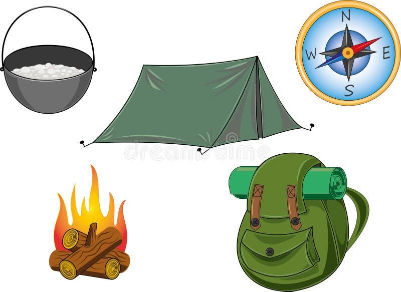 Toerisme het kamperen voorwerpen stock afbeeldingen