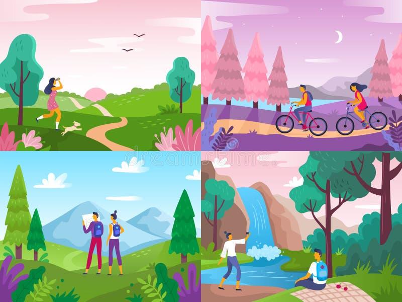 Toerisme op aard De alpinismereizigers, reis onderzoeken landschap en reizende sportrust vlakke vectorillustratie stock illustratie