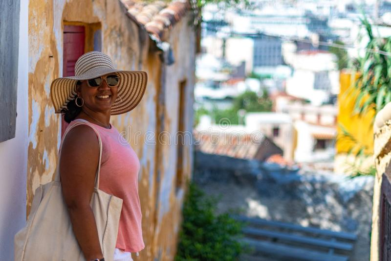Toerist in Athene Griekenland royalty-vrije stock foto's