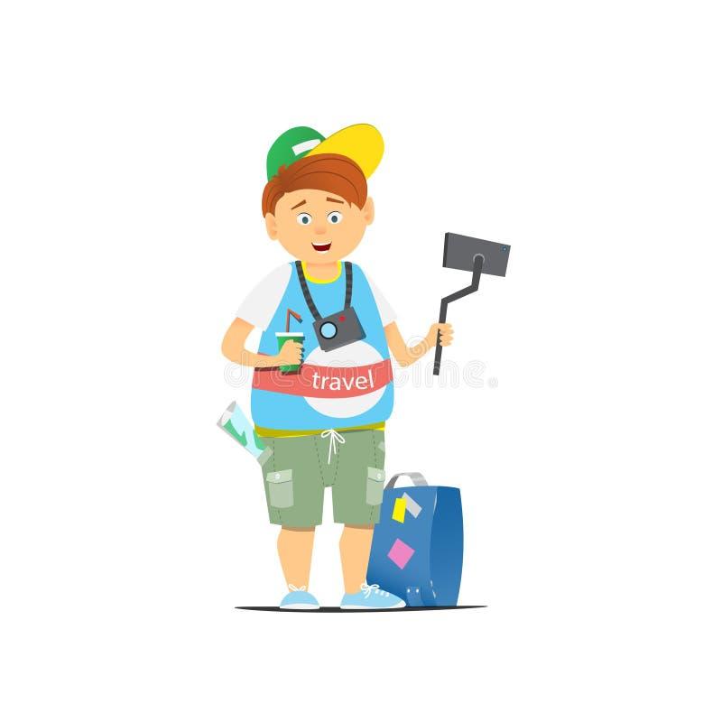 Toerist die een selfie nemen vector illustratie