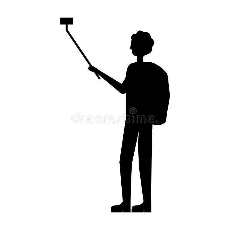 Toerist met rugzak en het mobiele nemen selfie royalty-vrije illustratie