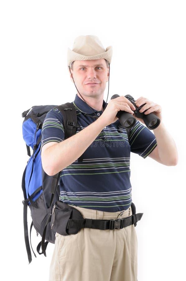 Toerist met verrekijkers stock foto