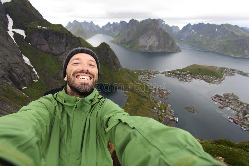 Toerist selfie in Noorwegen stock foto