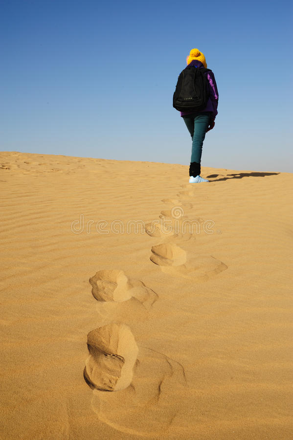 Toerist in woestijn royalty-vrije stock afbeelding