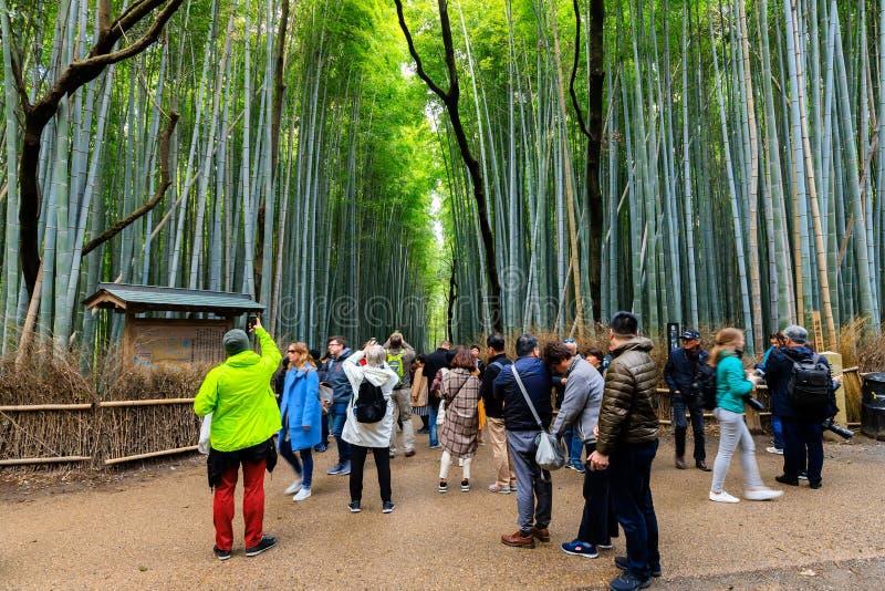 Toeristen bij Arashiyama-bamboebos royalty-vrije stock foto