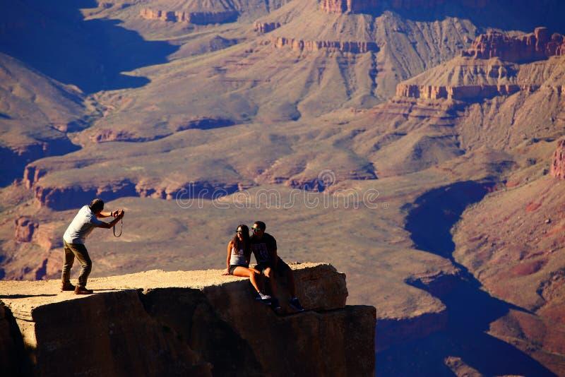 Toeristen bij het nationale park van Grand Canyon stock foto
