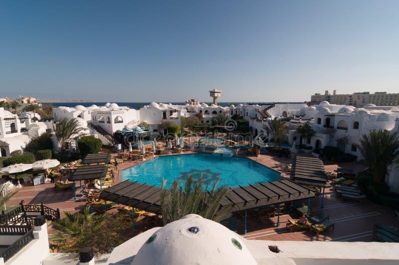 Toeristen bij Hurghada-hotel stock foto's
