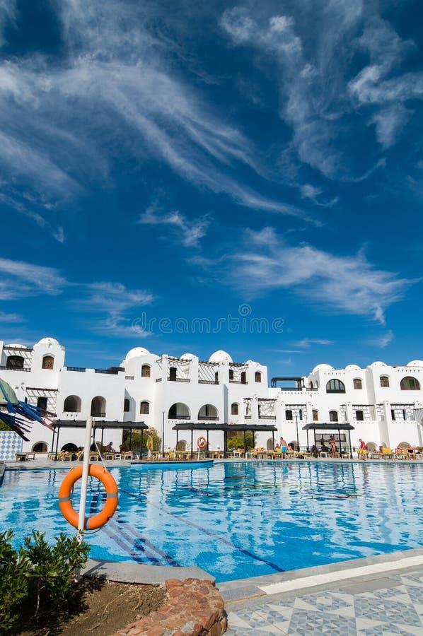Toeristen bij Hurghada-hotel royalty-vrije stock foto's