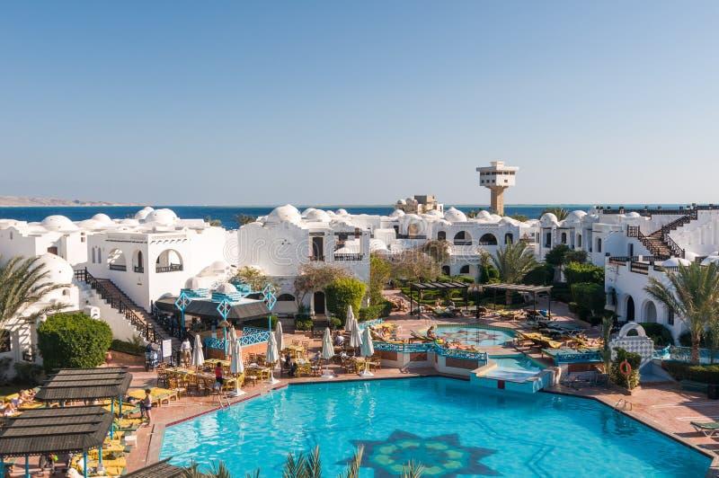 Toeristen bij Hurghada-hotel royalty-vrije stock foto