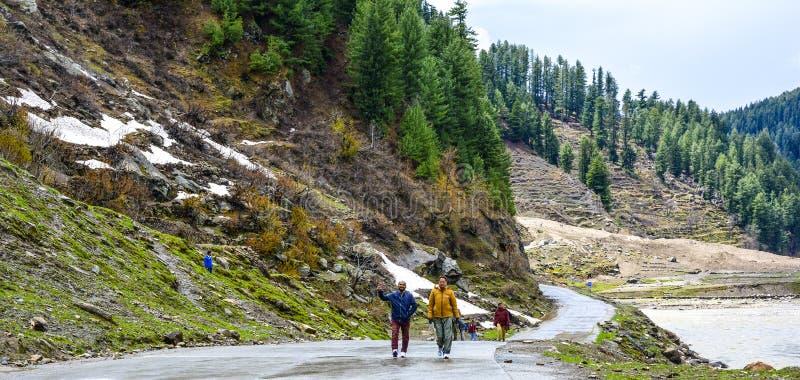 Toeristen in de Vallei van Naran Kaghan, Pakistan royalty-vrije stock foto's