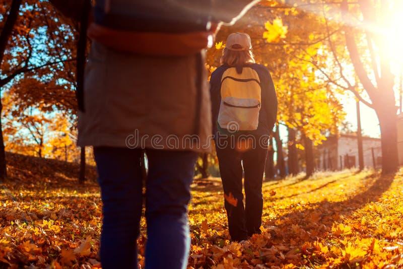 Toeristen die met rugzakken in de herfst bosmoeder en haar volwassen dochter lopen die samen reizen stock afbeelding