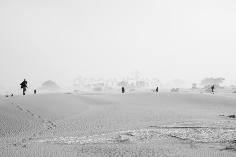 Toeristen die over duinen tijdens zandstorm in zwart-wit aankomen stock foto