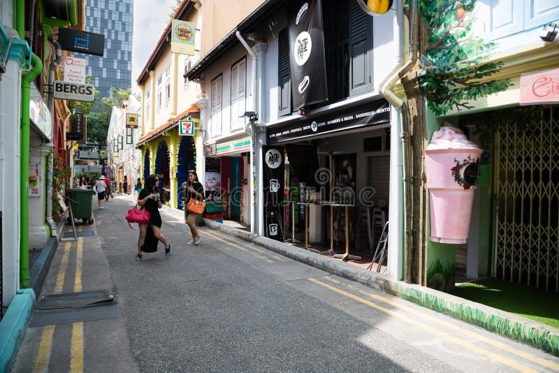 Toeristen in het Arabische kwart (Kampong Glam) Singapore royalty-vrije stock foto's
