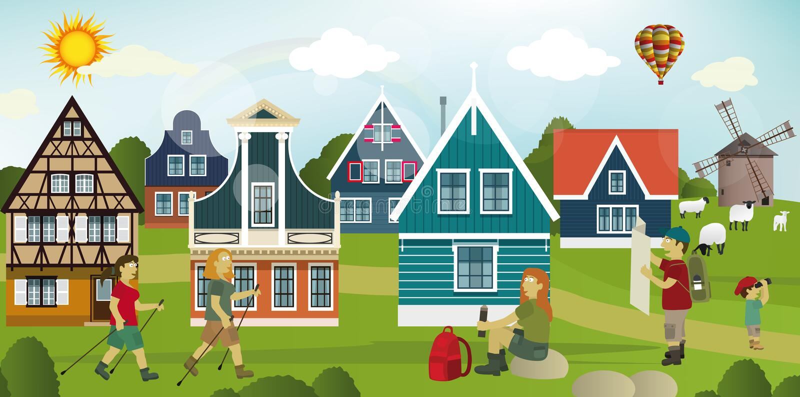 Toeristen in het Nederlandse platteland stock illustratie