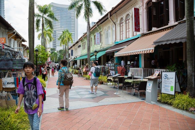 Toeristen in Kampong Glam, Singapore royalty-vrije stock foto