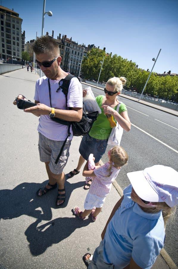 Toeristen in Lyon stock foto