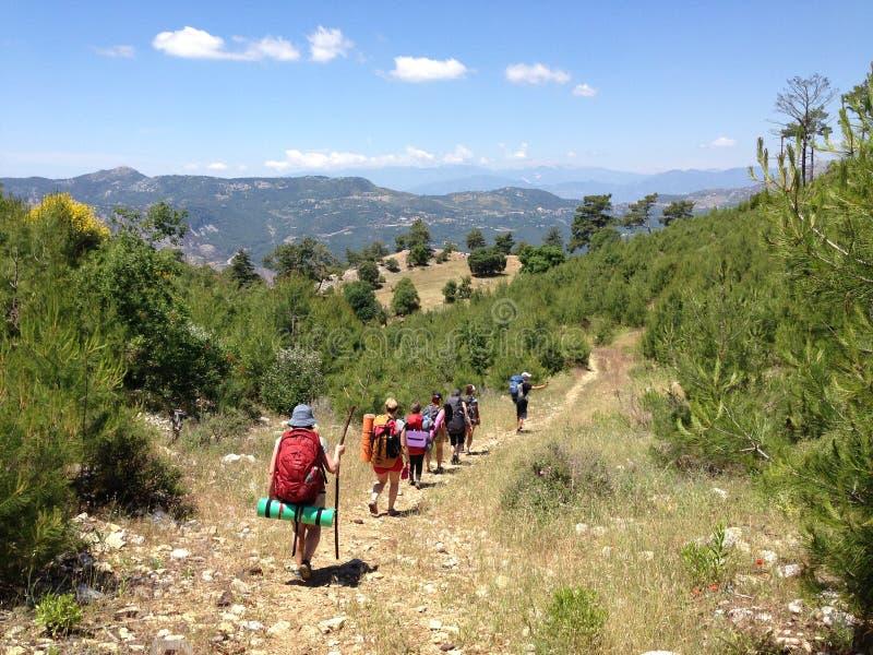 Toeristen op de Lycian-manier stock afbeeldingen