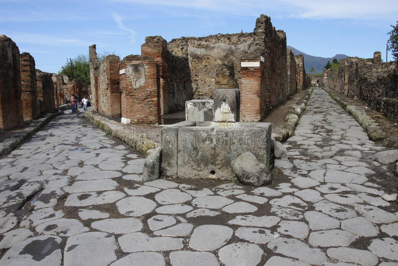 Toeristen in Pompei royalty-vrije stock foto