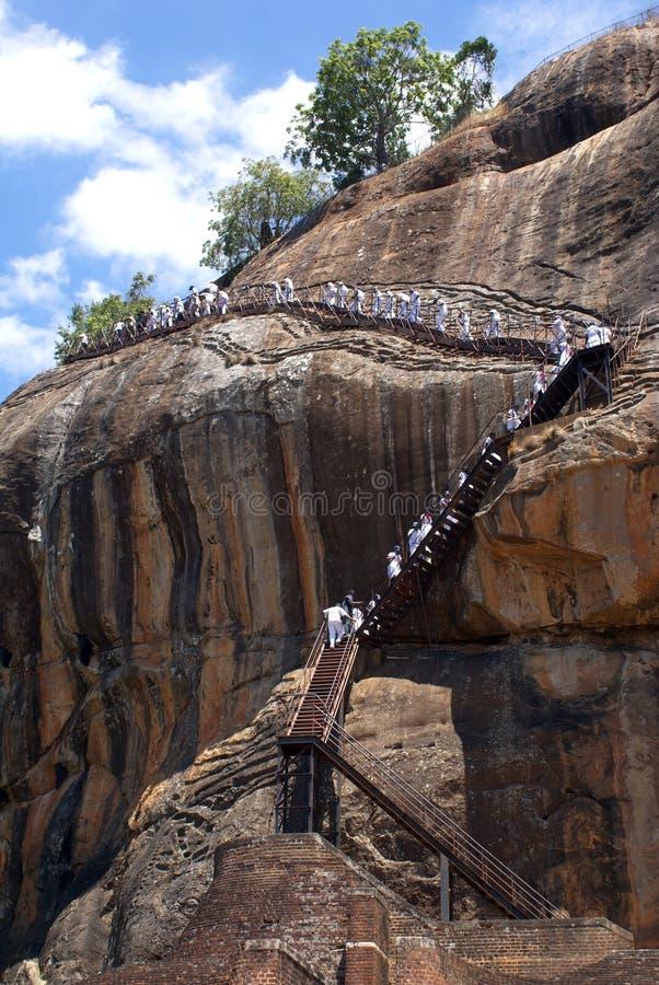 Toeristen in Sigiriya royalty-vrije stock foto's