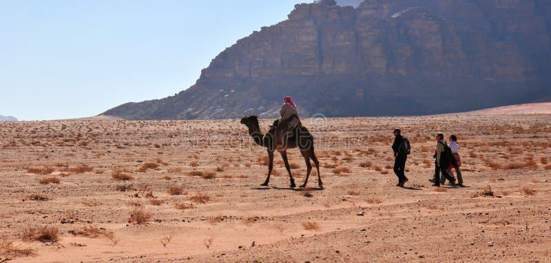 Toeristen in Wadi Rum Desert, Jordanië stock afbeeldingen