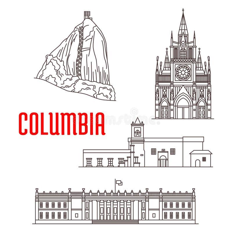 Toeristenoriëntatiepunten en architectuur van Colombia royalty-vrije illustratie