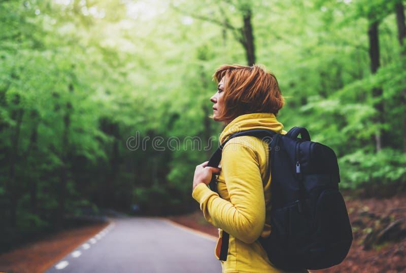 Toeristenreiziger met rugzak in weg bij de zomer groen bos, wandelaar van het menings de achtermeisje in het gele hoody kijken en royalty-vrije stock fotografie