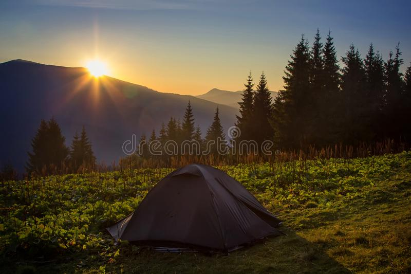 Toeristentent die in bergen kamperen De Oekraïense Karpaten royalty-vrije stock foto