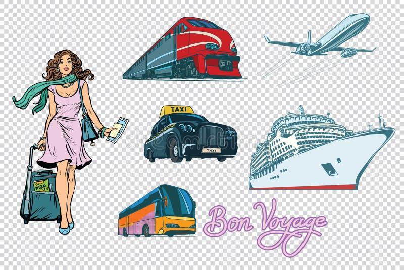 Toeristenvervoer op achtergrond wordt geplaatst die vector illustratie