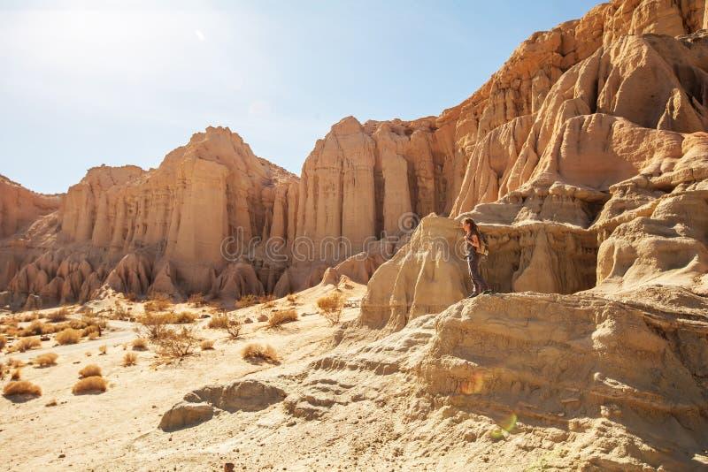 Toeristenvrouw in de woestijn stock fotografie
