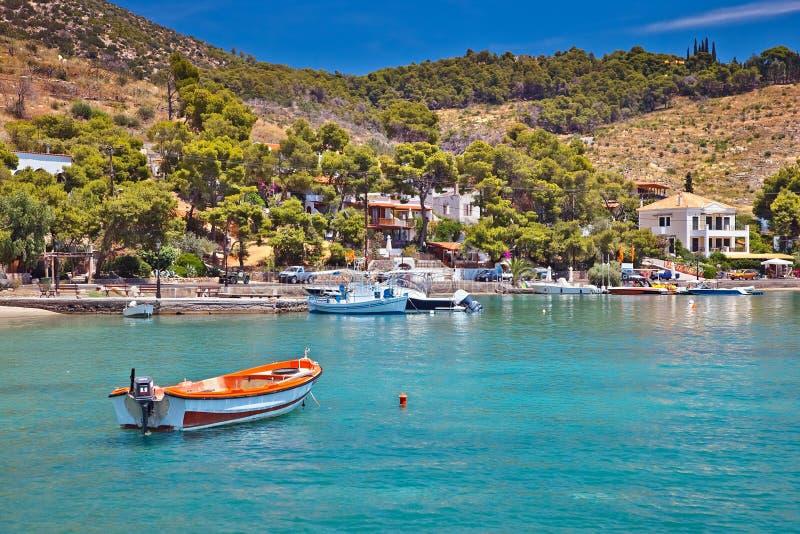 Toeristisch gebied op Poros stock fotografie