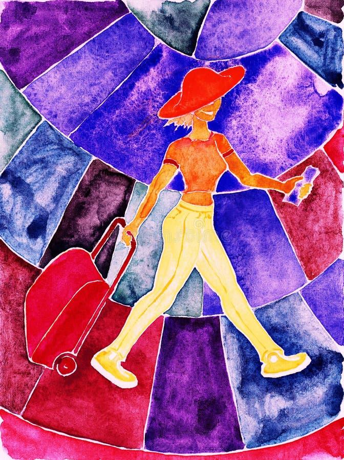 Download Toeristisch meisje. stock illustratie. Illustratie bestaande uit walking - 39104778