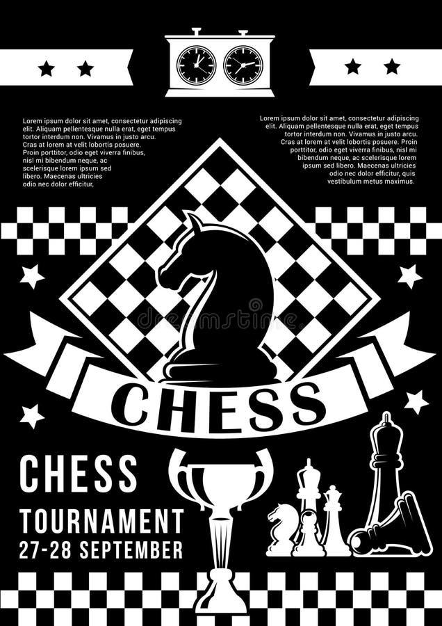 Toernooien in schaakspel met stukken en tijdopnemer stock illustratie
