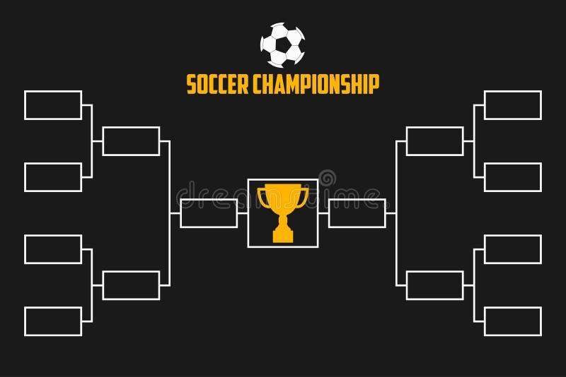 Toernooiensteun De regeling van het voetbalkampioenschap met trofeekop De vector van de voetbalsport vector illustratie