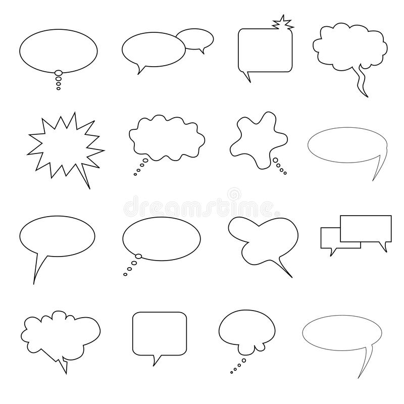 Toespraak, bespreking en gedachte bellen royalty-vrije illustratie