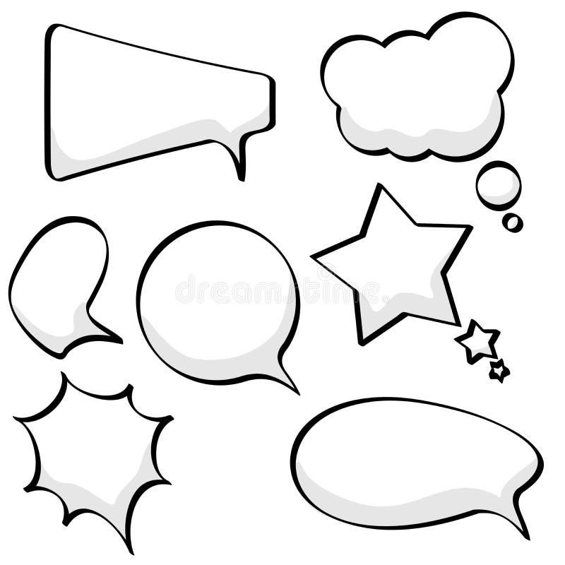 Toespraak en gedachte bellen stock illustratie