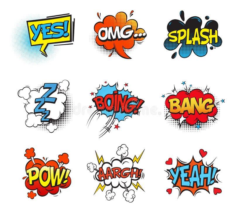 Toespraak en ineenstorting van de klap de de grappige bel, omg en pow vector illustratie