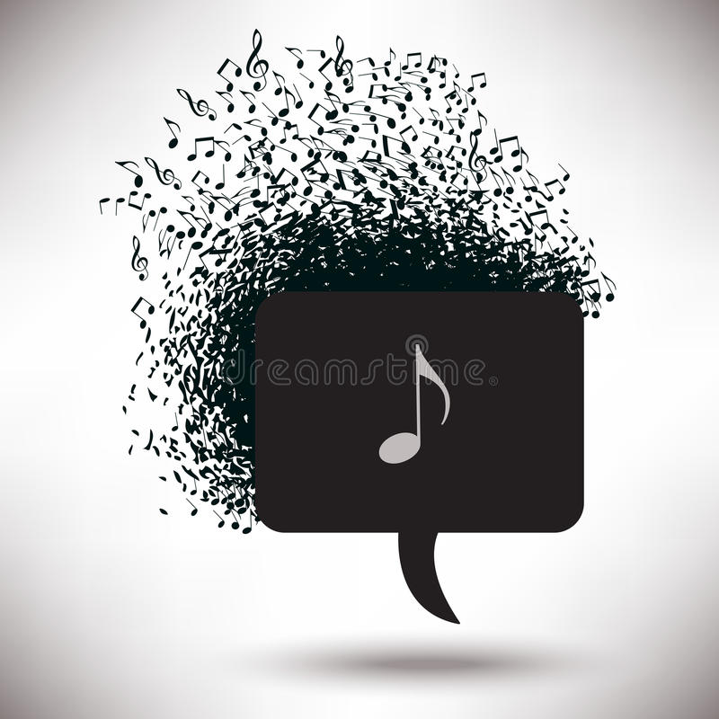 Toespraakbel Abuzz met Muzieknoten royalty-vrije illustratie