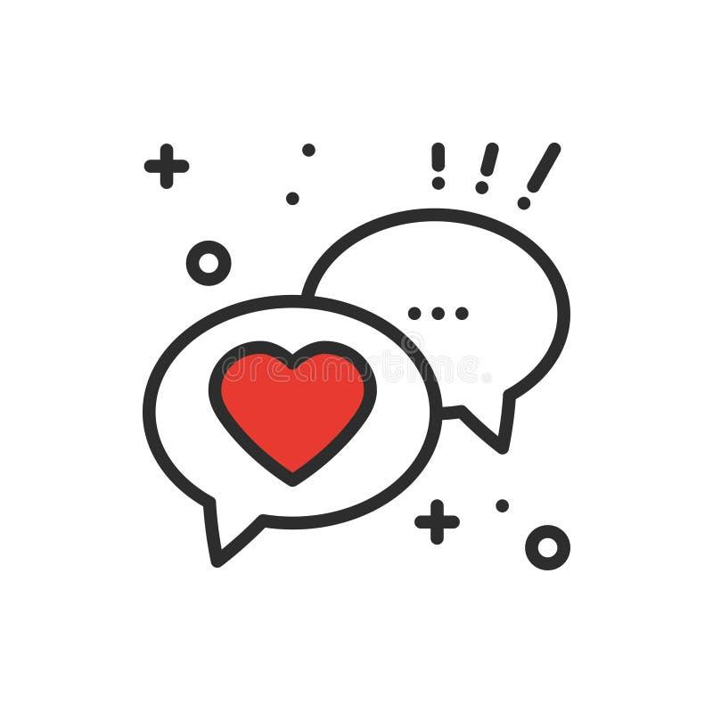 Toespraakbel met het pictogram van de hartlijn De dialoogbericht van het gesprekspraatje Gelukkig Valentine-dagteken en symbool H royalty-vrije illustratie