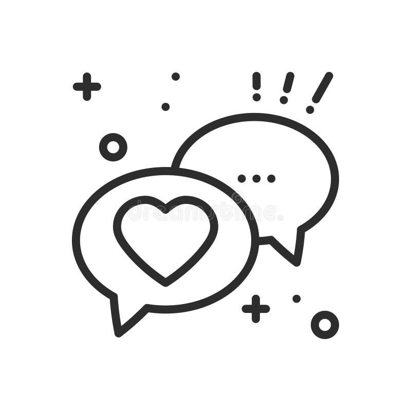 Toespraakbel met het pictogram van de hartlijn De dialoogbericht van het gesprekspraatje Gelukkig Valentine-dagteken en symbool H vector illustratie