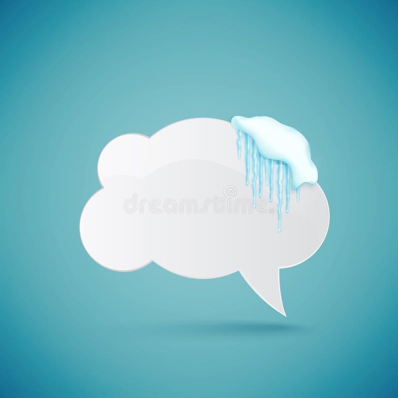 Toespraakbel met realistische sneeuw en ijskegels wordt verfraaid die Ontwerpsjabloon voor vrolijke Kerstmis Vector stock illustratie