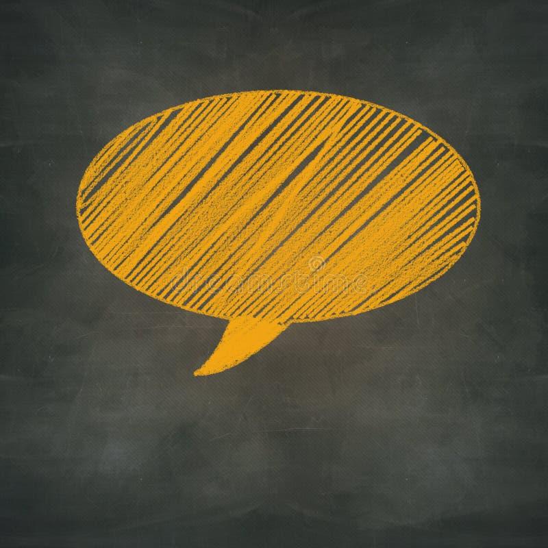 Toespraakbel op blankboard, communicatie concept royalty-vrije illustratie