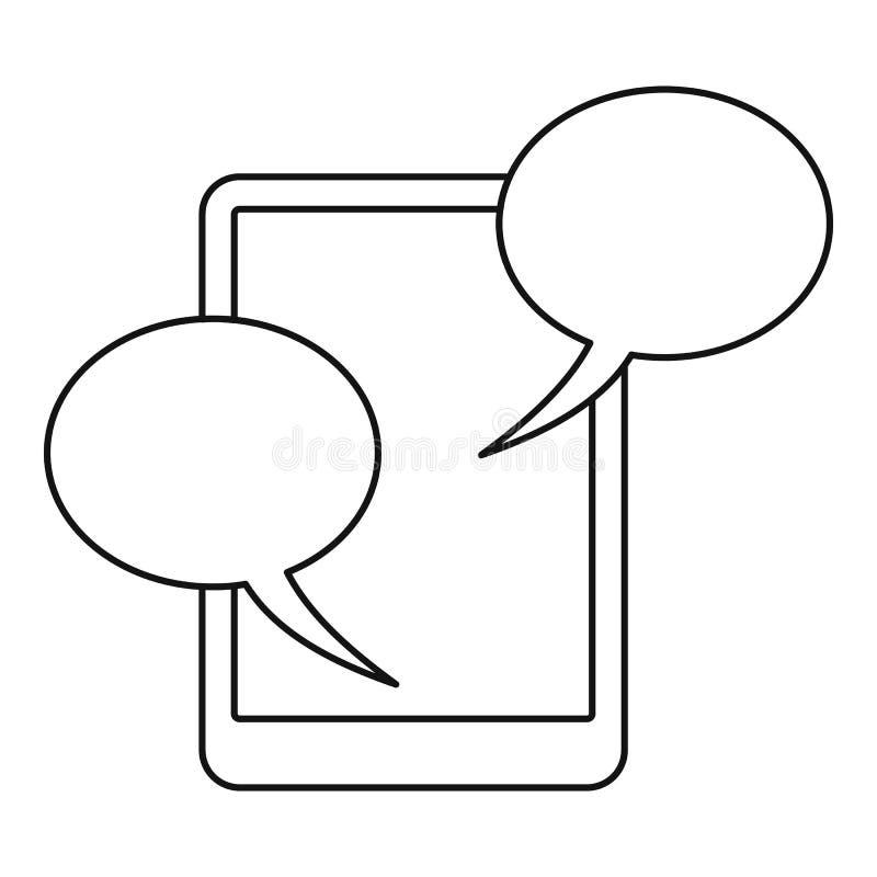 Toespraakbel op telefoonpictogram, overzichtsstijl royalty-vrije illustratie
