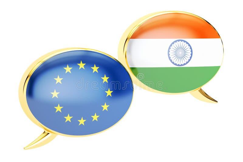Toespraakbellen, gespreksconcept Tussen de EU en Indië het 3d teruggeven vector illustratie