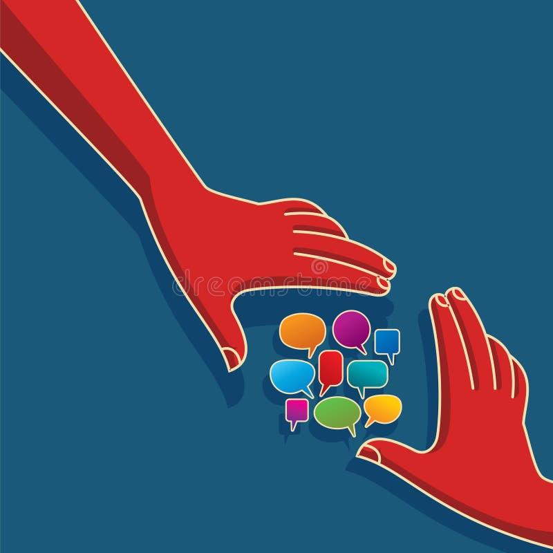 Toespraakbellen met handen stock illustratie