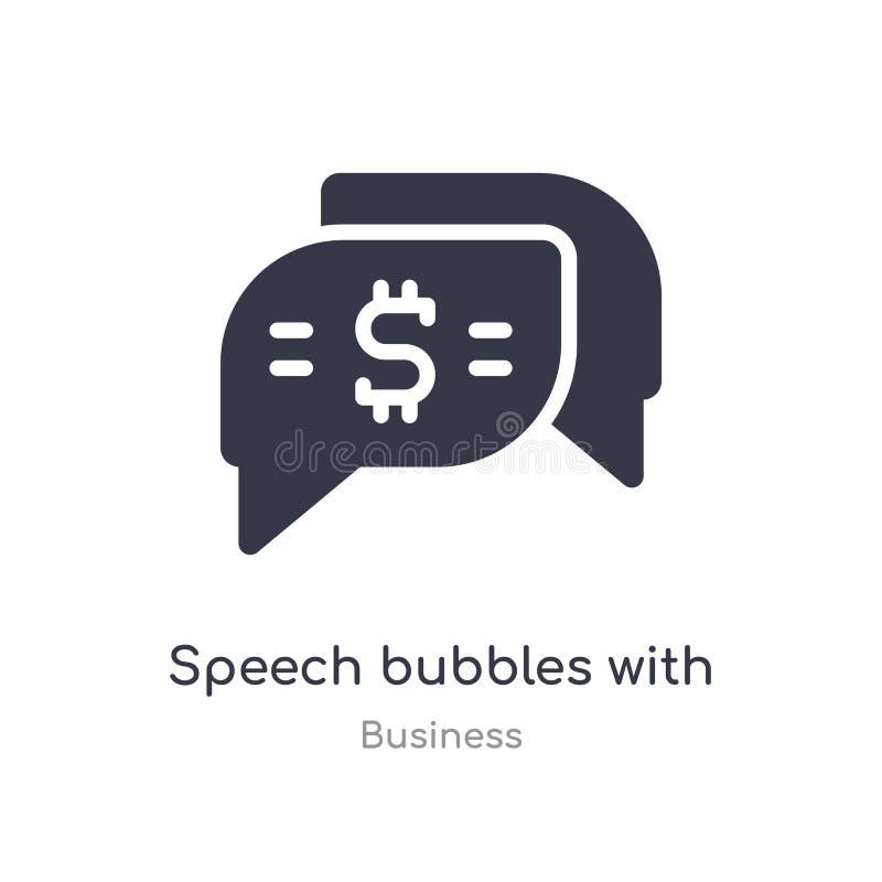 toespraakbellen met het pictogram van het dollaroverzicht ge?soleerde lijn vectorillustratie van bedrijfsinzameling editable dunn royalty-vrije illustratie