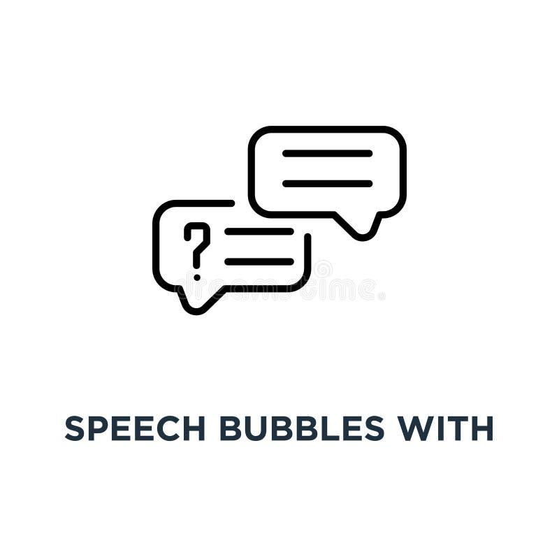 Toespraakbellen met tekstpictogram Lineaire eenvoudige elementenillustratio vector illustratie