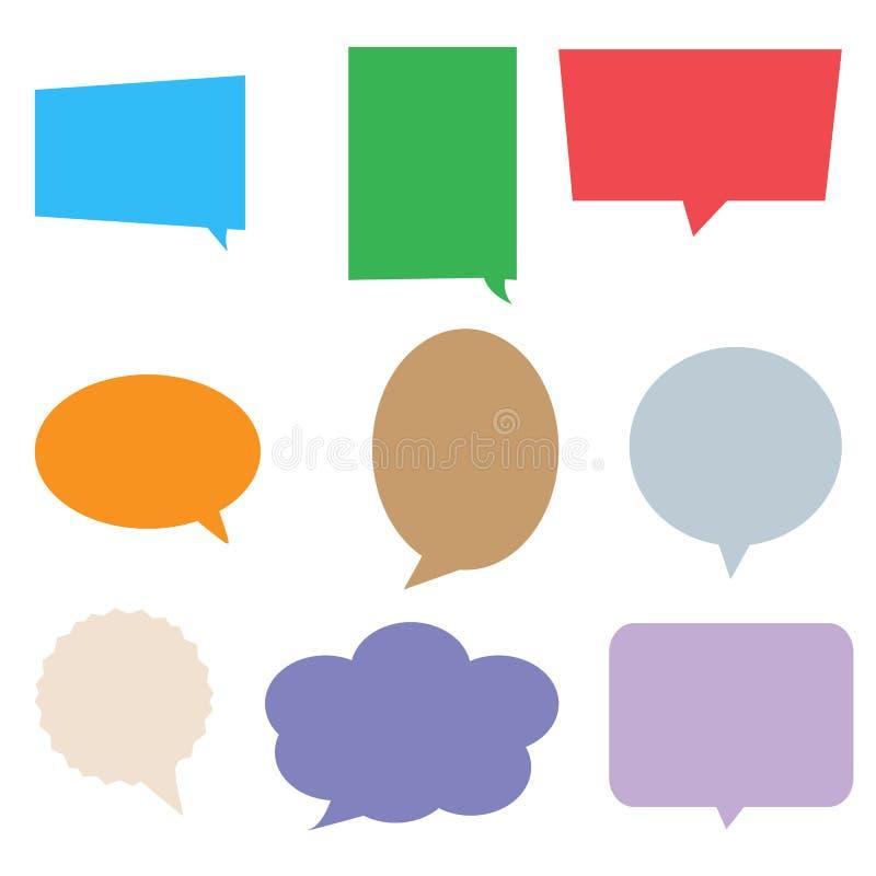 Toespraakbellen in pop-artstijl kleurrijke vastgestelde dialoogdoos royalty-vrije stock afbeeldingen