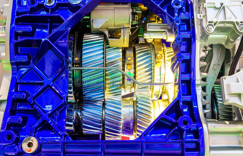 Toestel binnen de interne verbrandingsmotor van autoclose-up stock fotografie