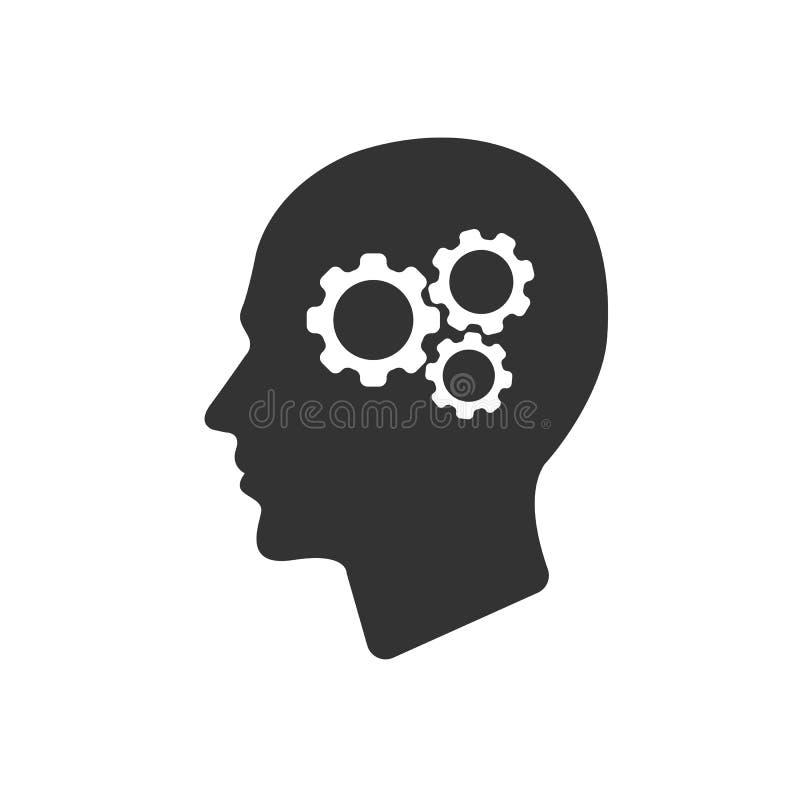 Toestel in hoofddiepictogram op wit wordt geïsoleerd vector illustratie